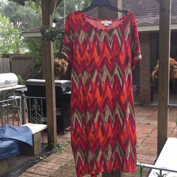 Michael Kors Dresses & Skirts - Michael Kors 2x shirt dress orange pink tan EUC